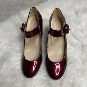 Marc Fisher Shaylie patent red Mary Jane pump sz 5